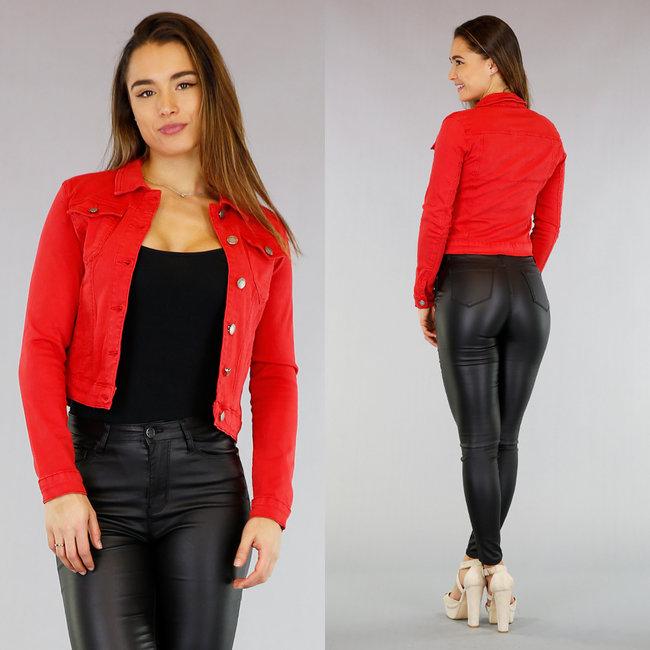 Basic Rood Spijkerjasje met Stretch
