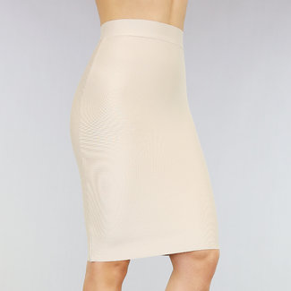 Basic Nude High Waist Bandage Rok