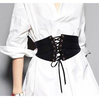 Brede Elastische Tailleriem met Veter Zwart