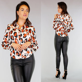 Ecru Loose-Fit Luipaard Blouse