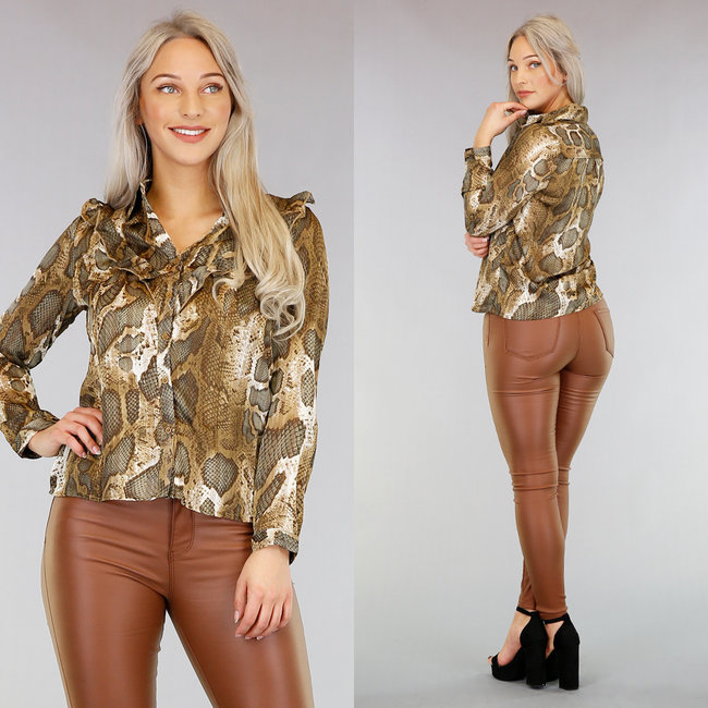 NEW1103 Chiffon Snake Blouse met Ruches