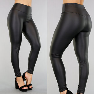Basic Zwarte Lederlook Legging