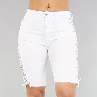 NEW1103 Witte Jeans Bermuda met Veters