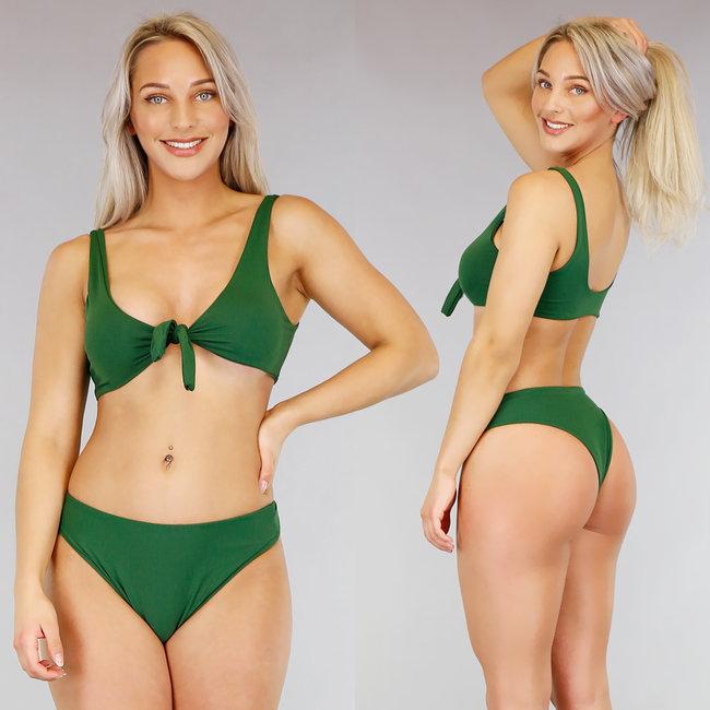 Wonderbaarlijk Basic Groene Bikini met Strikdetail - Uwantisell.nl HV-97