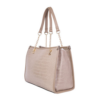 Nude Lederlook Croco Handtas