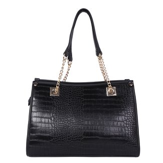 Zwarte Lederlook Croco Handtas