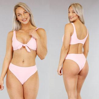 Basic Lichtroze Bikini met Strikdetail