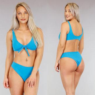 Basic Turquoise Bikini met Strikdetail