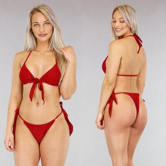 !OP=OP. Rode Triangel Bikini met Strikjes