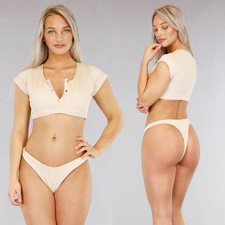NEW1103 Khaki Rib Bikini met Mouwtjes