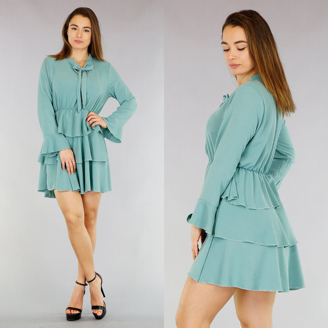 NEW1803 Mint Layer Dress met Strikje