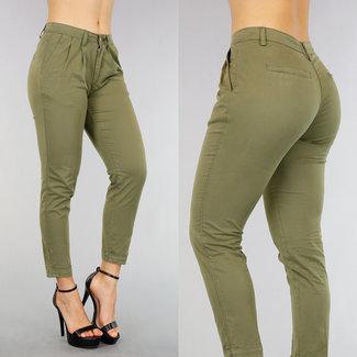 NEW1803 Groene Regular Waist Pantalon met Plooitjes