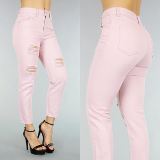 NEW2503 Rechte Lichtroze Jeans met Scheuren