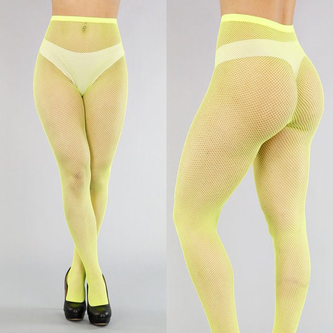 NEW2503 Neon Gele Small Fishnet Panty