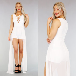 Witte Playsuit met Chiffon Maxi Rok