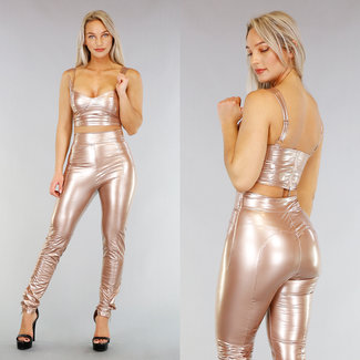 NEW0104 Champagne PVC Crop Top