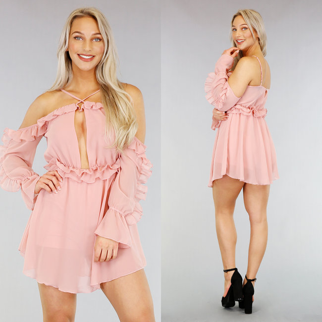 Sexy Roze Chiffon Playsuit met Ruches