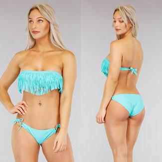 NEW0104 Aqua Bandeau Bikini met Franje