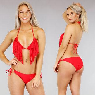 Rode Triangel Halter Bikini met Franje