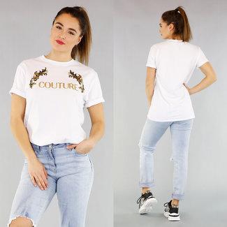 NEW0104 Basic Oversized T Shirt met Tekst en Opdruk Wit