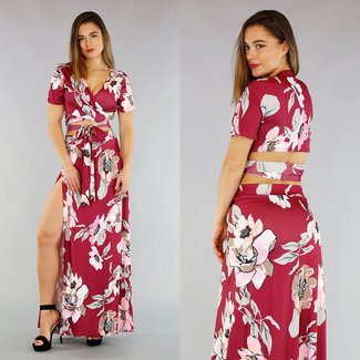 Bordeaux Flower 2-Piece met Wikkel Top