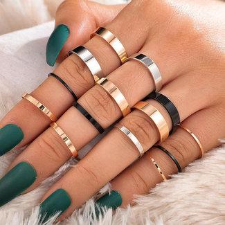 15 Delige Basic Ringen Set