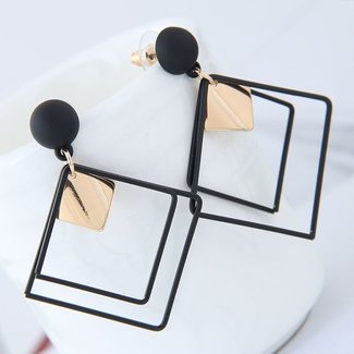 Zwarte Vierkante Geometrische Oorbellen