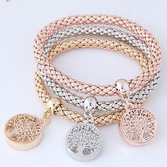NEW0804 Drie Elastische Levensboom Armbanden