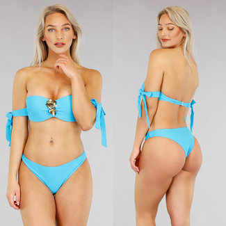 Blauwe Push-Up Bikini met Strikjes