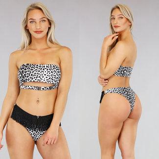 Witte Panterprint Bandeau Bikini met Franjes