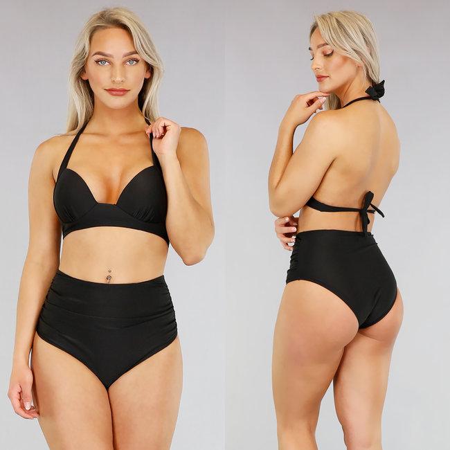 Zwarte Geplooide High Waist Bikini