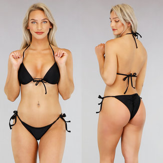Basic Zwarte Triangel Bikini met Push Up