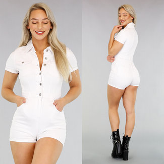 Witte Stretch Jeans Playsuit met Knopen
