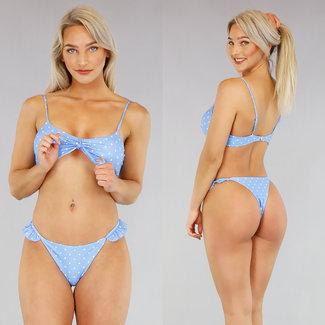 Blauwe Polkadot Bikini met Ruches