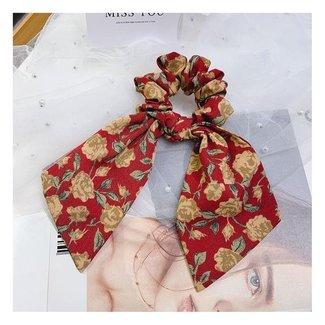NEW2204 Bloemenprint Scrunchie met Strik Rood
