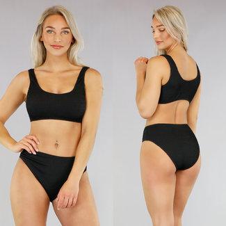 Zwarte High Waist Bikini met Ribbelpatroon