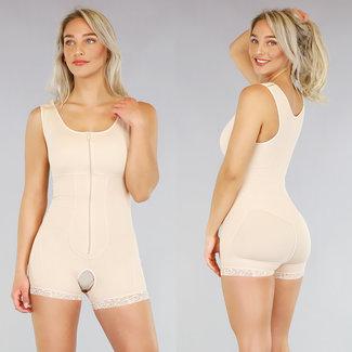OP=OP Corrigerende Nude Body met Ritssluiting en Pijpjes