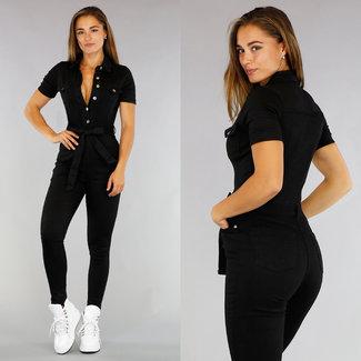 Zwarte Stretch Jeans Jumpsuit met Knopen