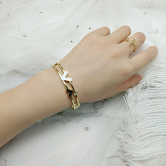 Gouden Armband met Letters en Strass