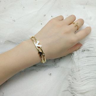 OP=OP Gouden Armband met Letters en Strass