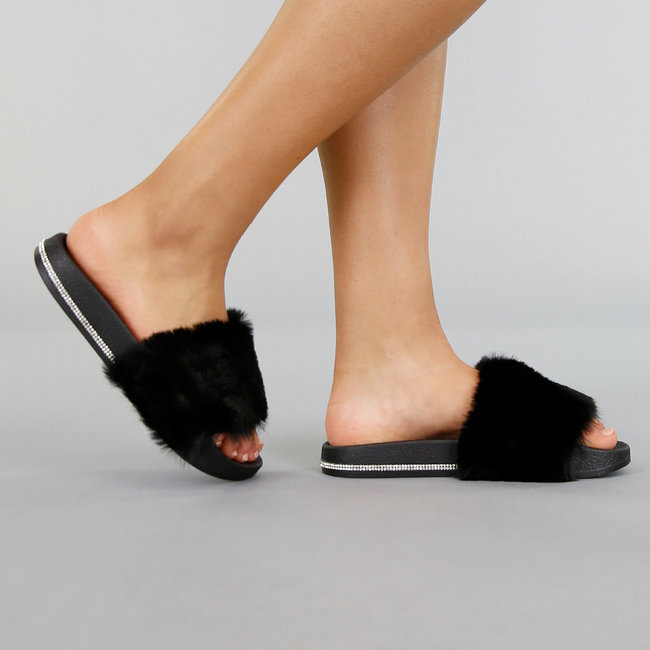 Zwarte Slippers met Bont en Strass