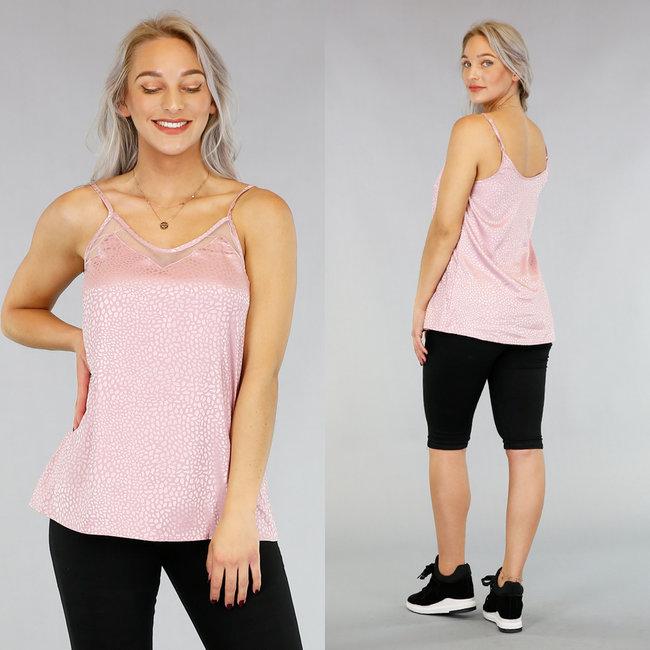 Roze Luipaardprint Top met Mesh Details