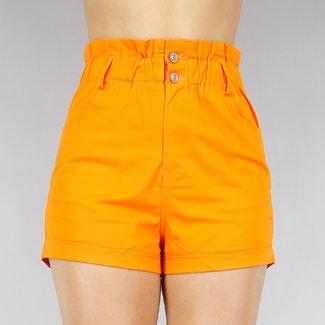 Oranje High Waist Paperbag Short