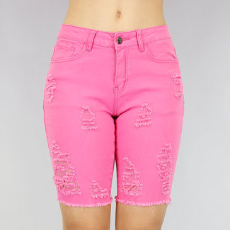 Roze Damaged Jeans Bermuda