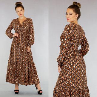 OP=OP Brown/Gold Maxi Dress met Lange Mouwen