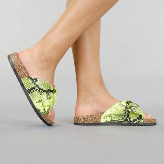 Lime Snake Slippers met Strik