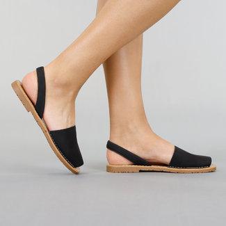 Zwarte Lederlook Menorquina Sandalen