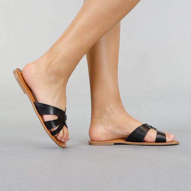 NEW0306 Zwarte Lederlook Slippers met Knoopdetail