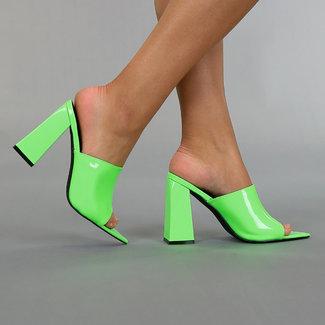 Neon Groene Lak Pumps met Blokhak