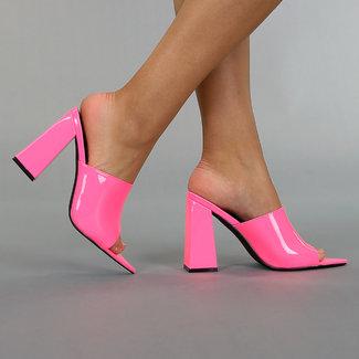 !OP=OP. Neon Roze Lak Pumps met Blokhak